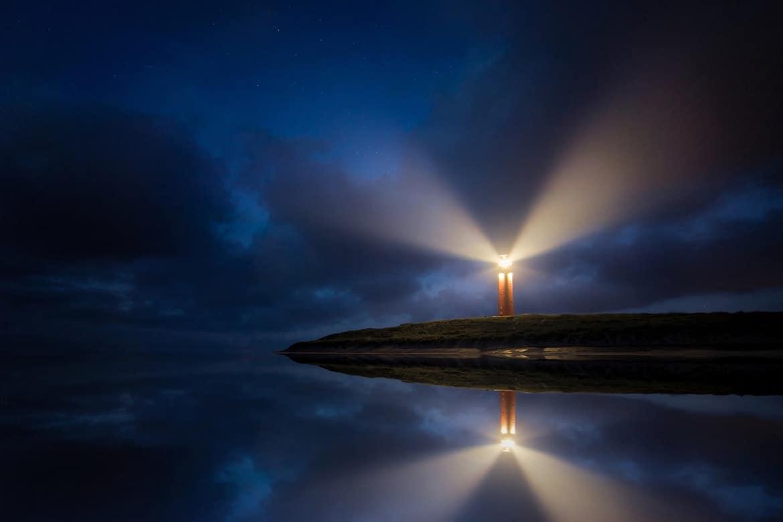 lighthouse at night
