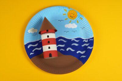 lighthouse paper craft landscape
