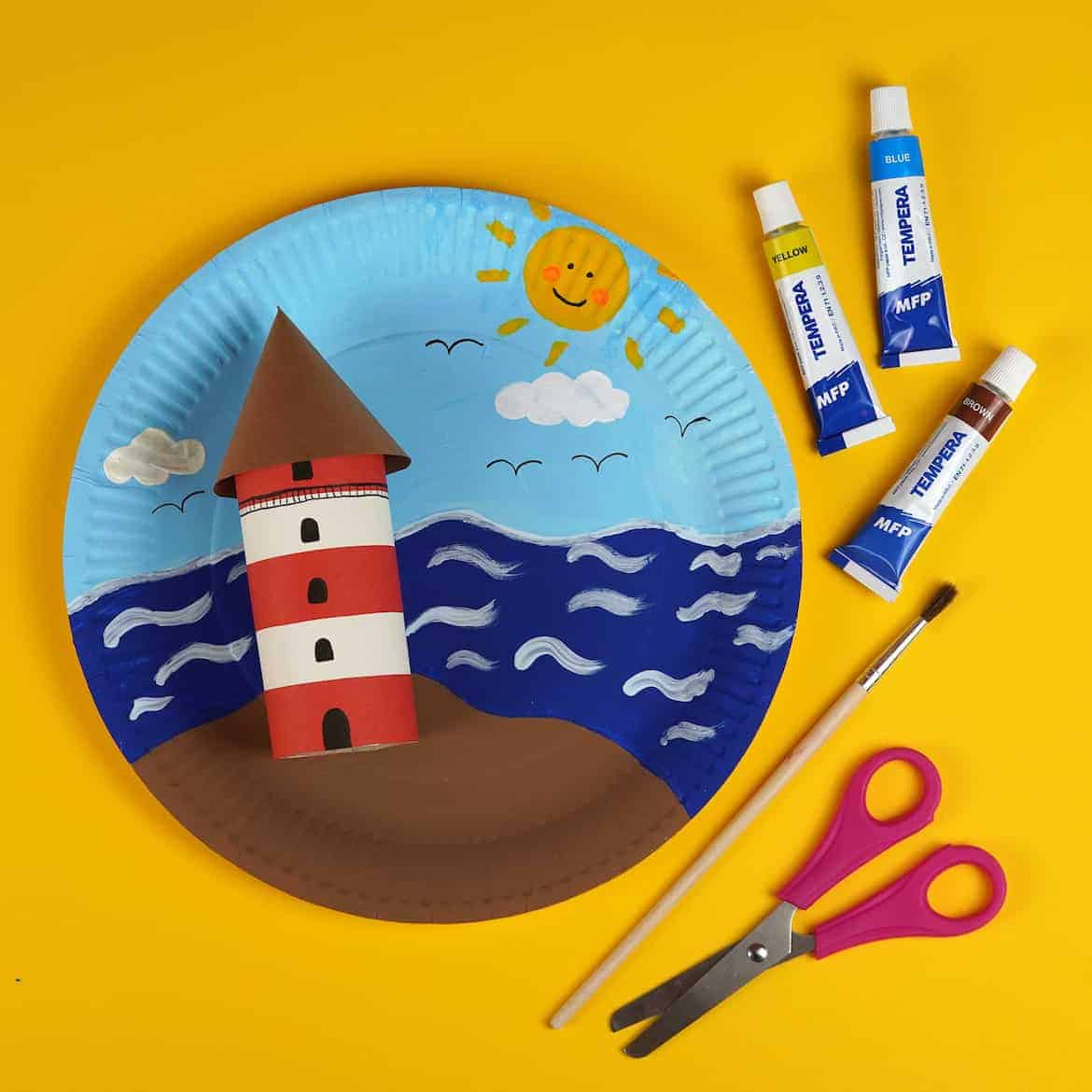 lighthouse paper craft idea for kids