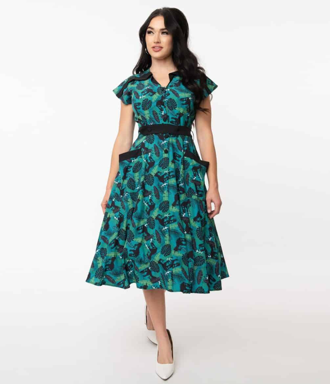 T-Rex Tropical Print Hedda Swing Dress - vintage dresses for women