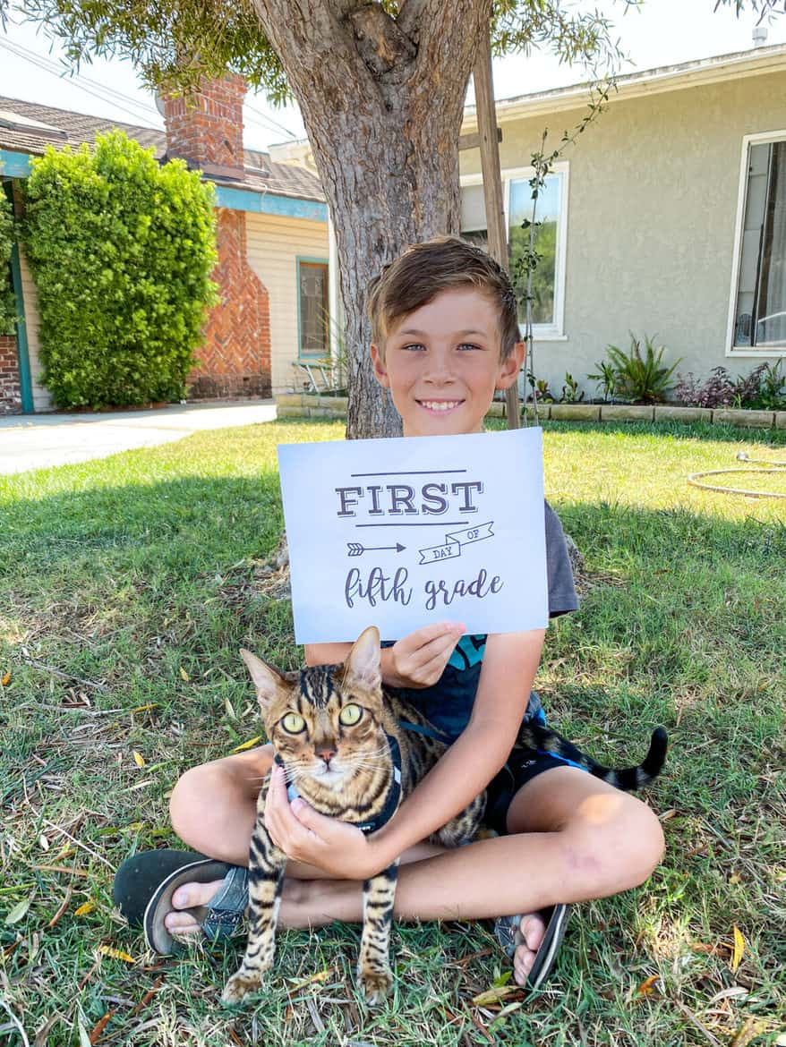 smiling boy with  cat first day of school 5th grade
