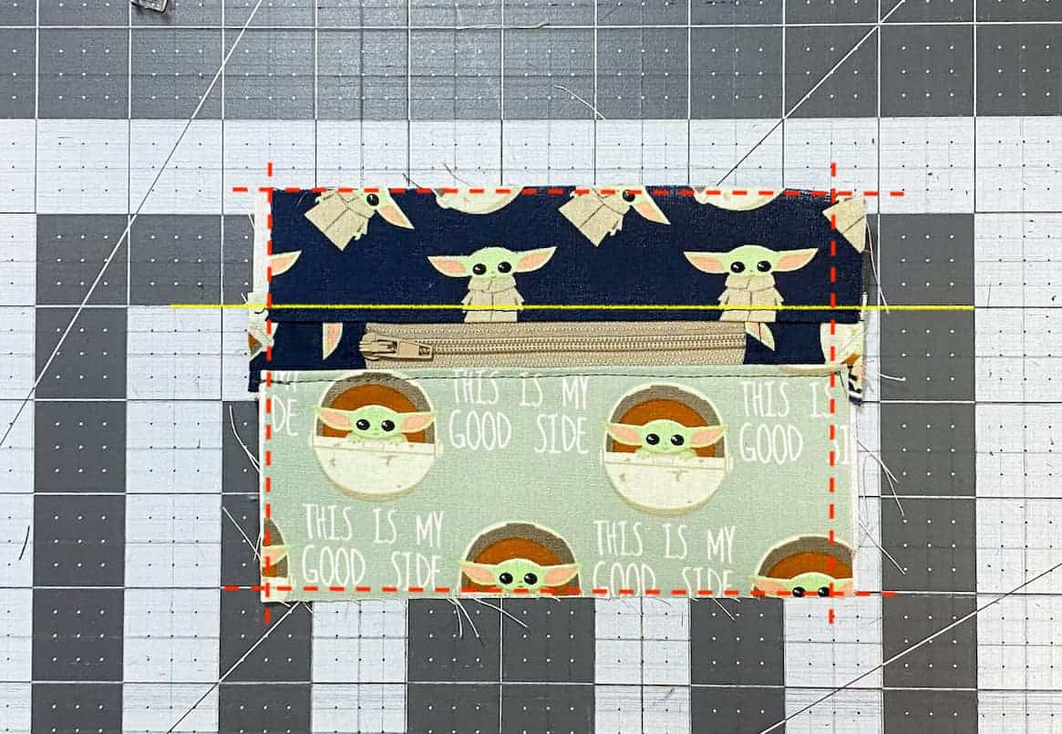 Two Zip Coin Purse Sewing Tutorial with Keyring 9 trim marks