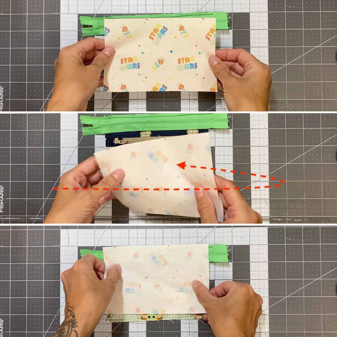 Two Zip Coin Purse Sewing Tutorial with Keyring horizontal flip