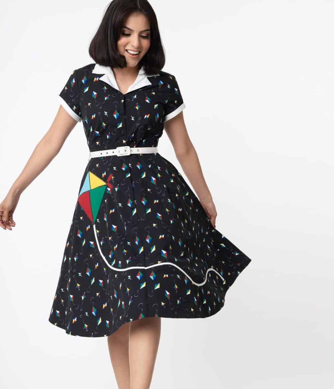 Unique Vintage Black & Multicolor Kite Print Alexis Swing Dress
