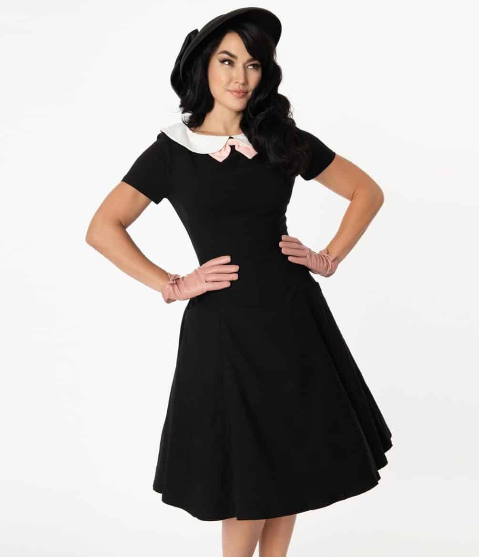 Unique Vintage Black & White Collar Eloise Swing Dress