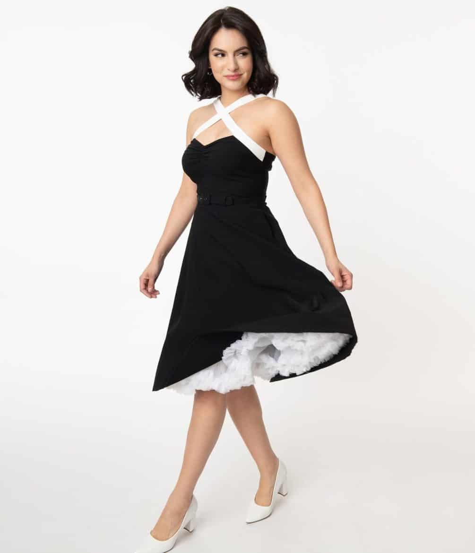 Unique Vintage Black & White Contrast Rue Swing Dress