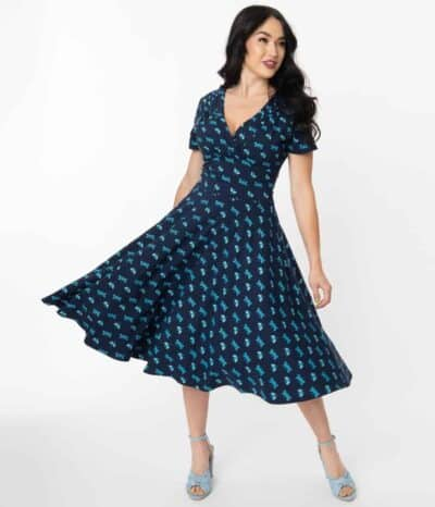 Unique-Vintage-Navy-Dragonfly-Print-Short-Sleeve-Delores-Swing-Dress