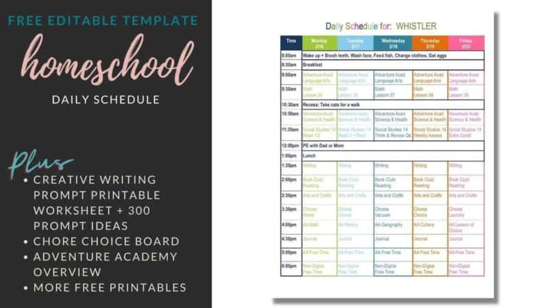 free editable homeschool template