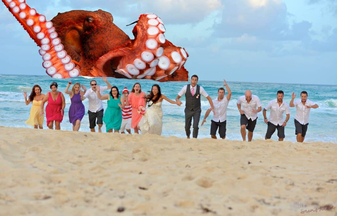 funny bridal party photos running from sea monster