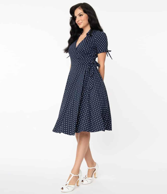 Unique Vintage Navy & White Pin Dot Bianca Wrap Dress