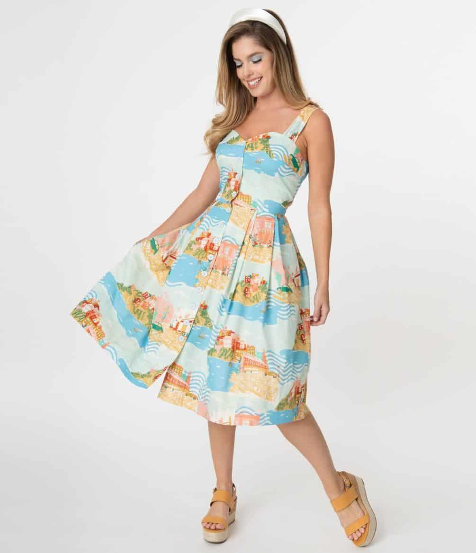 Emily & Fin Sorrento Seaside Print Jenny Swing Dress