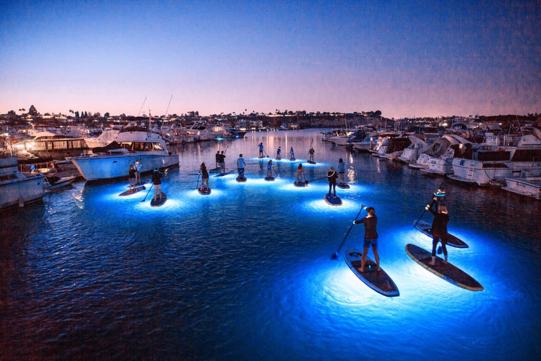 glow paddle boarding newport beach