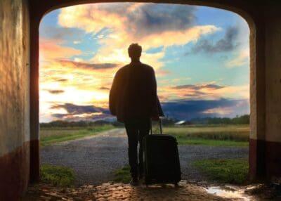 travel sunrise suitcase