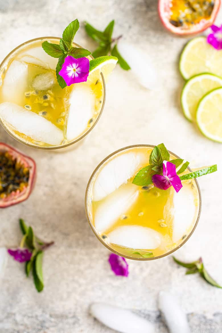 passion fruit cocktail recipe with lime and gin or vodka