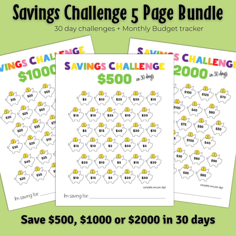 30 Day Savings Challenge Printable