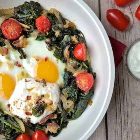 Bacon and Spinach Egg Bake with Yogurt Aoili