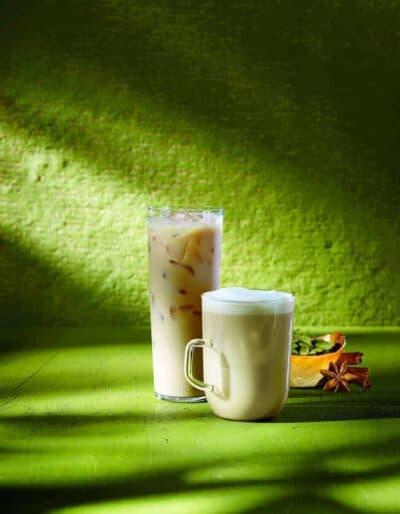 Handcrafted iced and hot Teavana Oprah Chai Tea Lattes