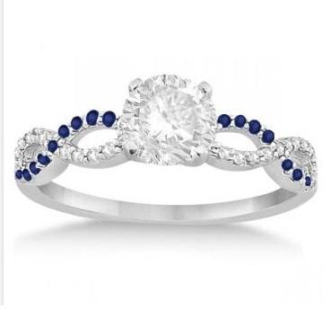 Infinity Diamond & Blue Sapphire Engagement Ring, Palladium 0.21ct – $838