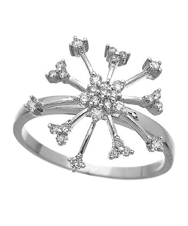 18k White Gold Diamond Snowflake Ring, .26ct – $616