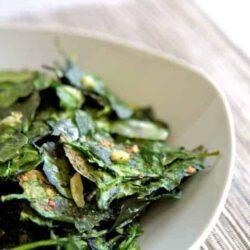Baked Garlic Spinach Chips Recipe