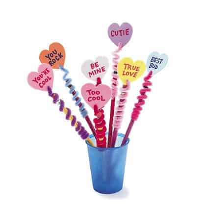 conversation heart pencil toppers valentines day craft photo 420 FF0202VALA14