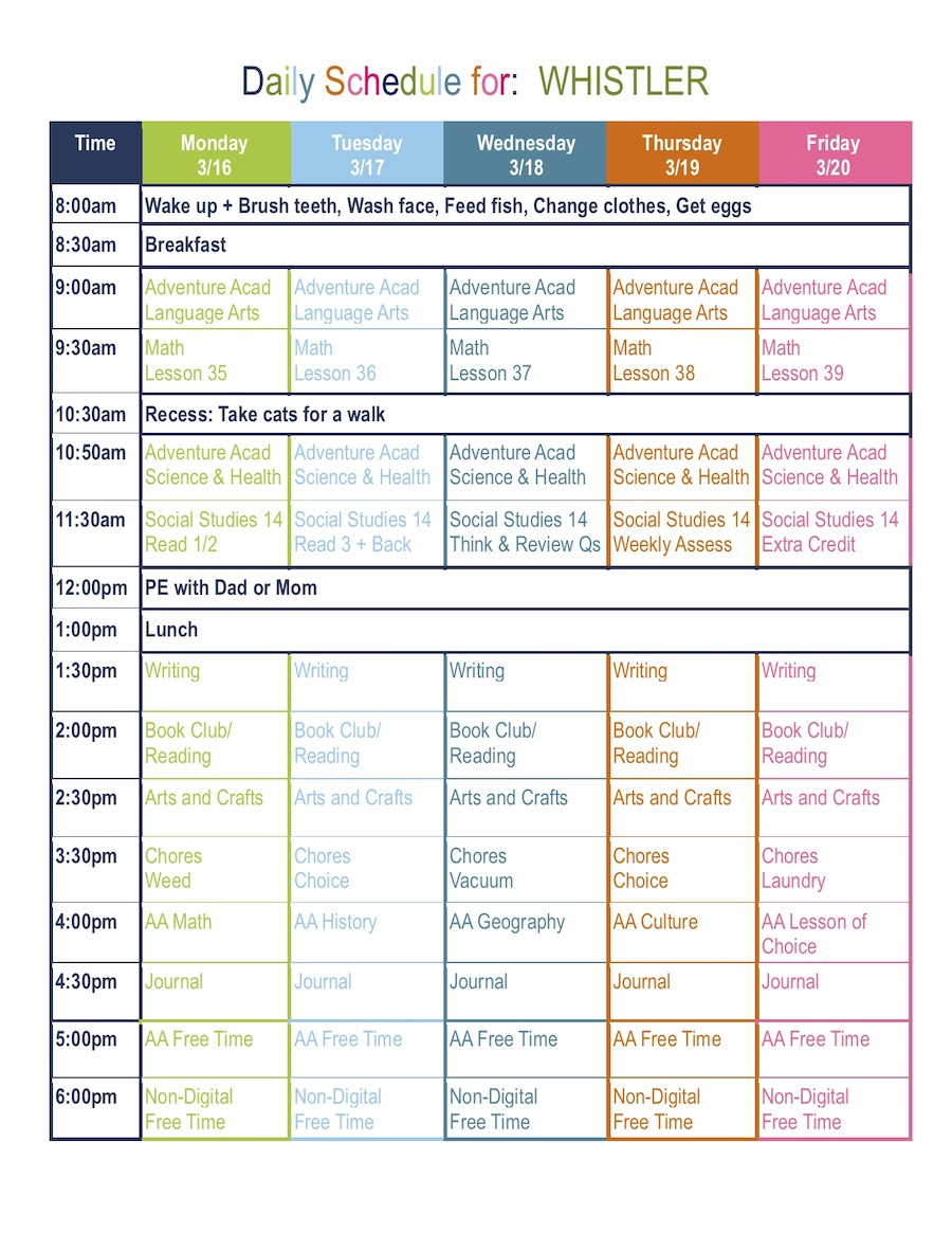 4th Grade Daily Homeschool Schedule Template Free Download Surf And Sunshine