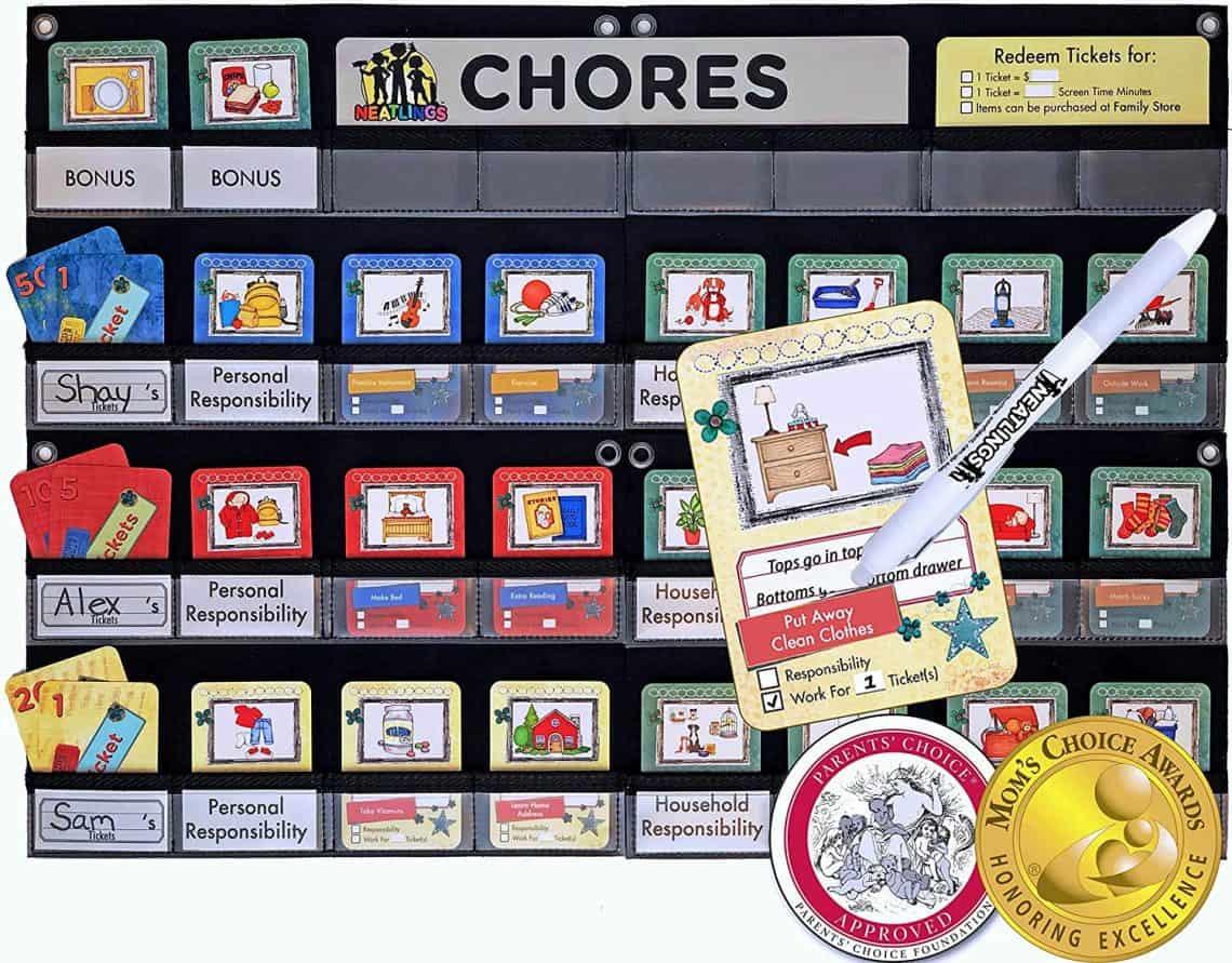chore choice board with reward system