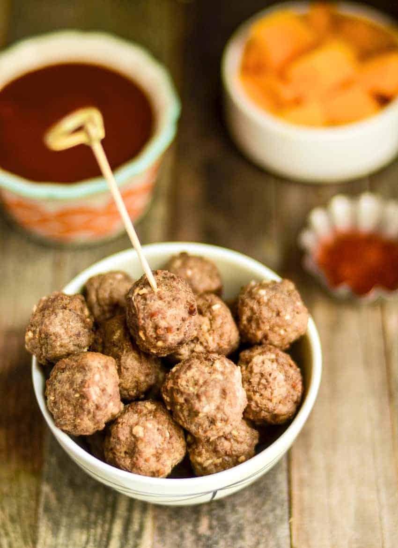 game day chipotle mango meatball recipe
