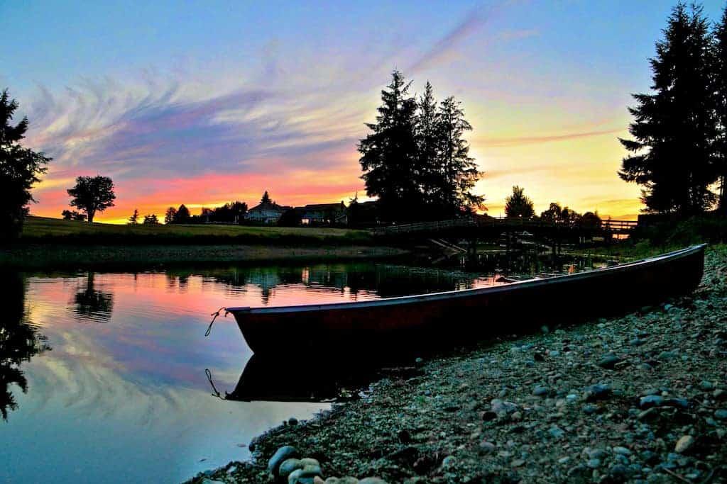 lazy summer sunset on the lake
