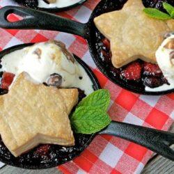 Mini Mixed Berry Cobbler Recipe with Salted Caramel Pretzel Frozen Custard
