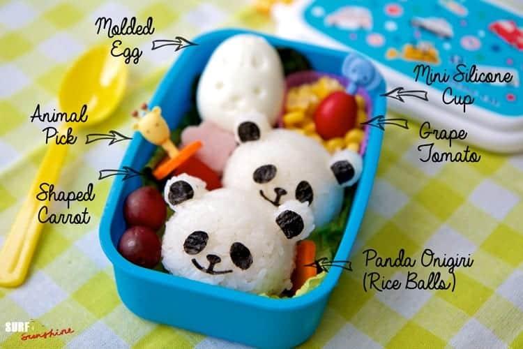 panda rice ball bento