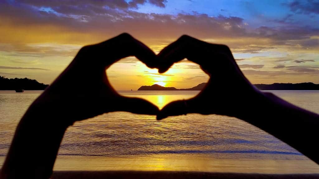sunset heart silhouette