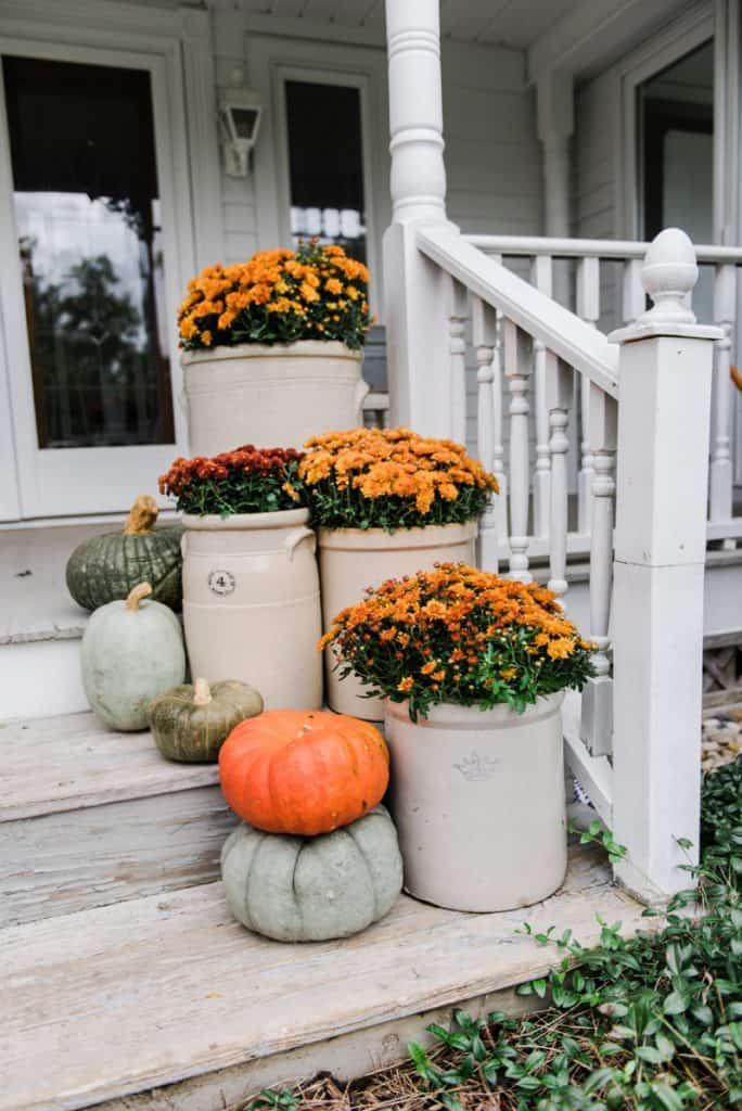 fall porch decor pumpkins mums by liz marie 0001 684x1024 - Fall Gardening: Add Color to Your Landscape with Mums, Pansies and Pumpkins!