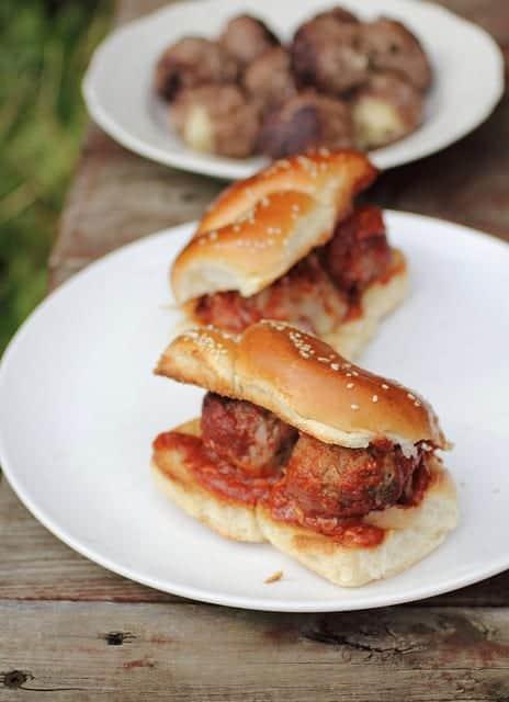 cheese stuffed meatball sandwiches