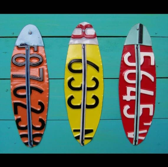 recycled license plate surfboards