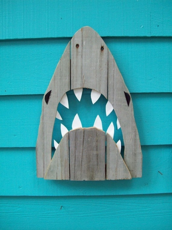 shark art recycled fence wood