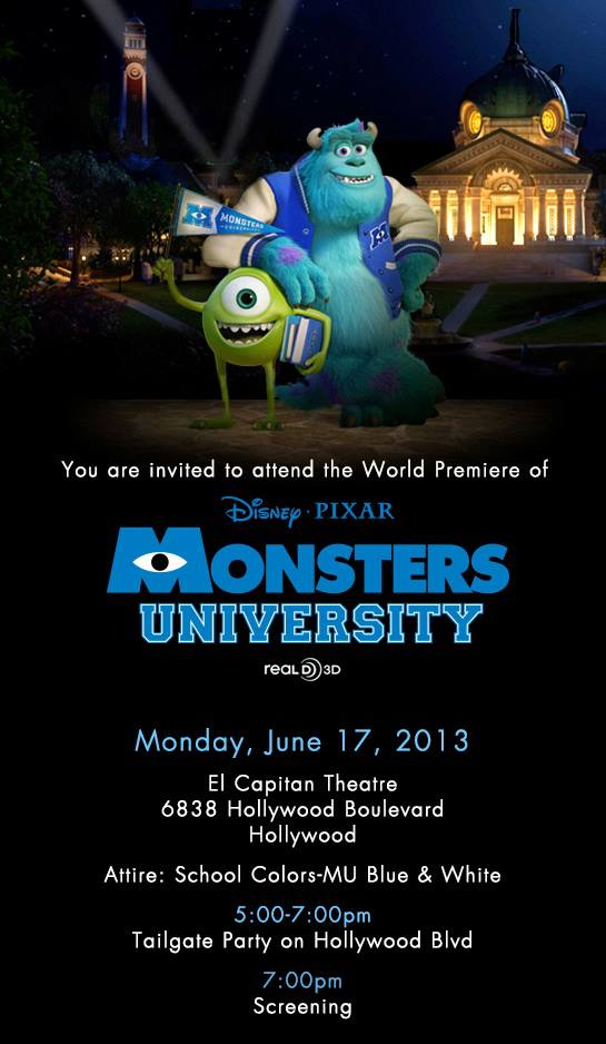 monsters university premiere invitation
