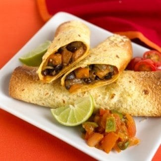 Mexi-Indian Black Bean and Sweet Potato Enchiladas