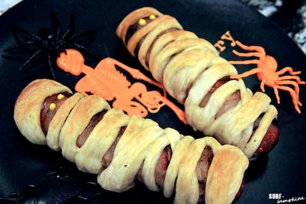 bacon wrapped sausage mummies halloween recipe 1