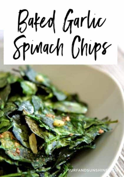 baked garlic spinach chips 421x600 - Baked Garlic Spinach Chips Recipe