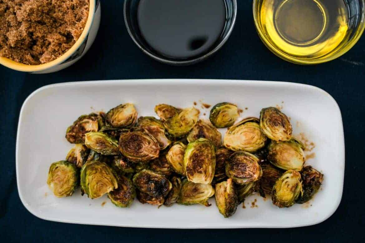 plate of Balsamic Glazed Brussels Sprouts Recipe