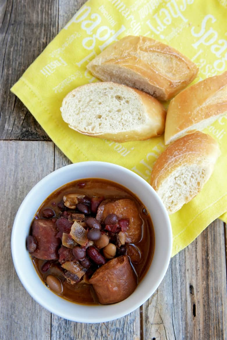 crockpot slow cooker smoked kielbasa and bbq baked beans recipe