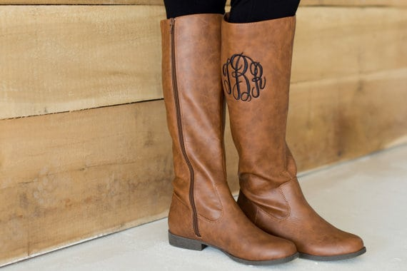 monogramed zip up riding boots trendy boots for fall