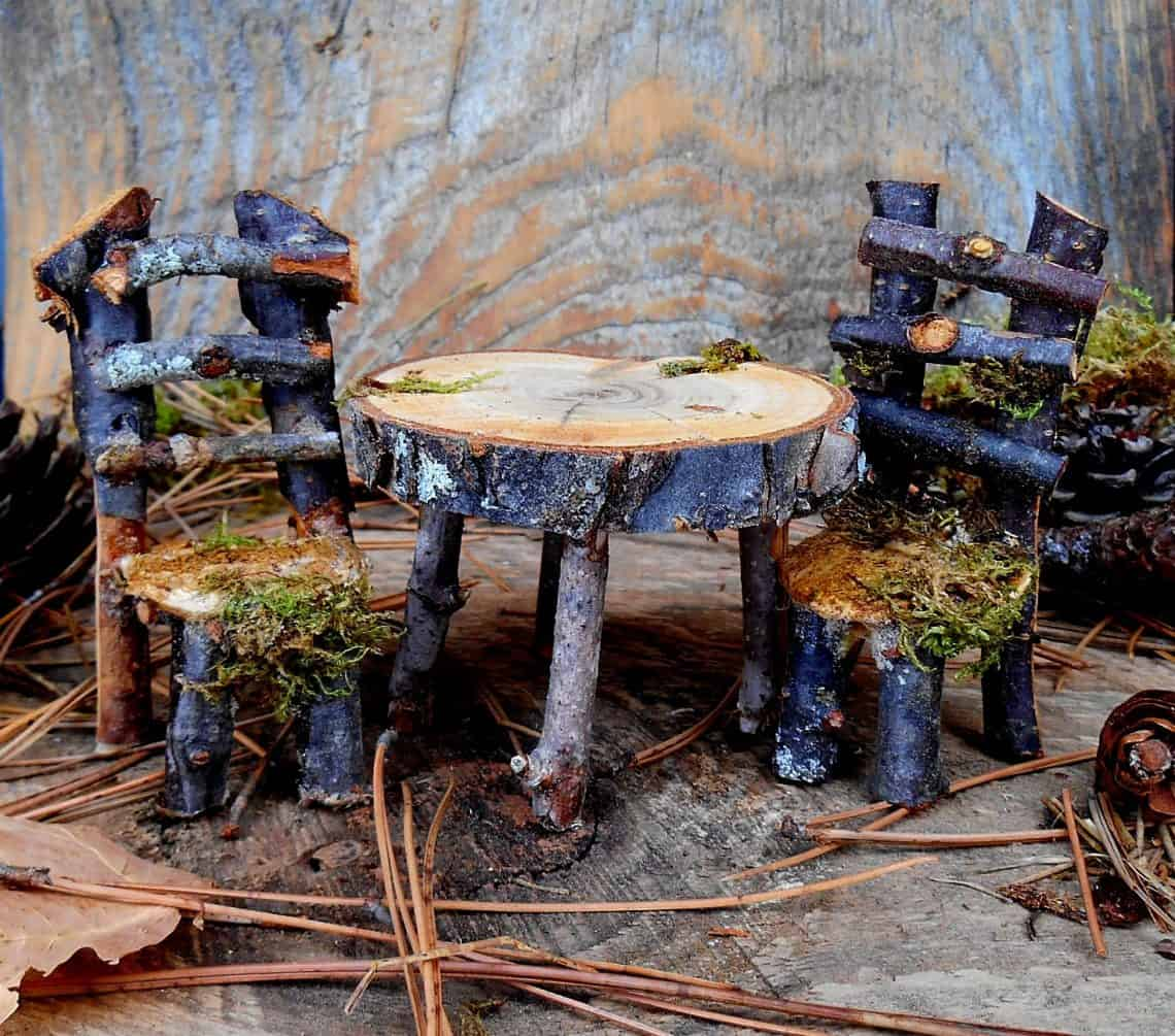 rustic furniture 2 1140x1005 - DIY Fairy House Inspiration Plus Everything You Need To Make Your Own