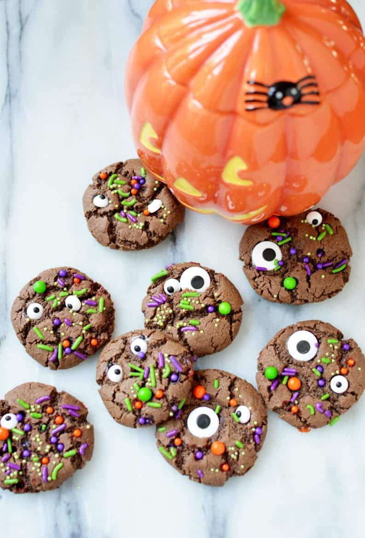homemade chocolate halloween monster cookies recipe