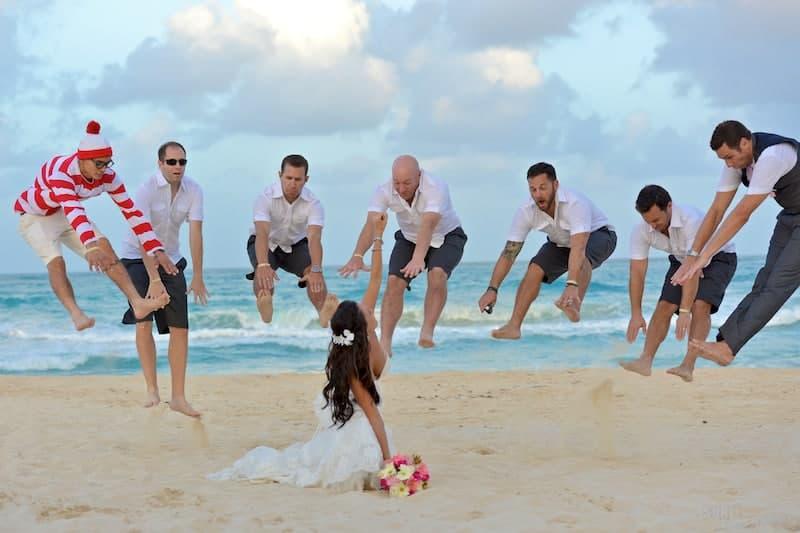 thor punch wedding photo
