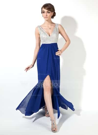 VNeck Floor Length Chiffon Dress