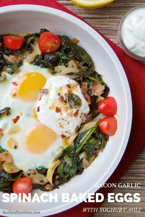 bacon garlic spinach baked eggs