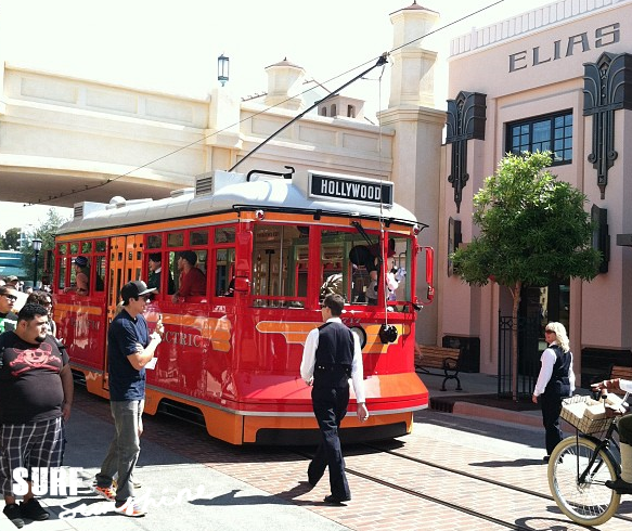 Buena Vista Street Red Trolley Car Disney California Adventure