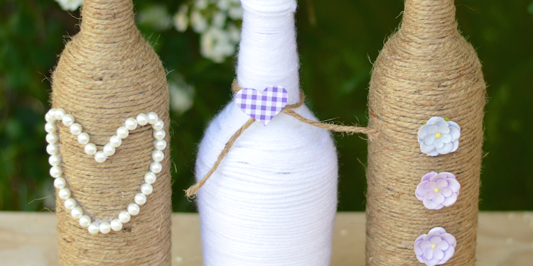 rustic wedding craft diy rope vase (1)